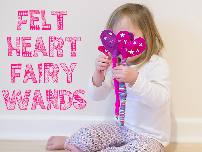 felt heart fairy wands