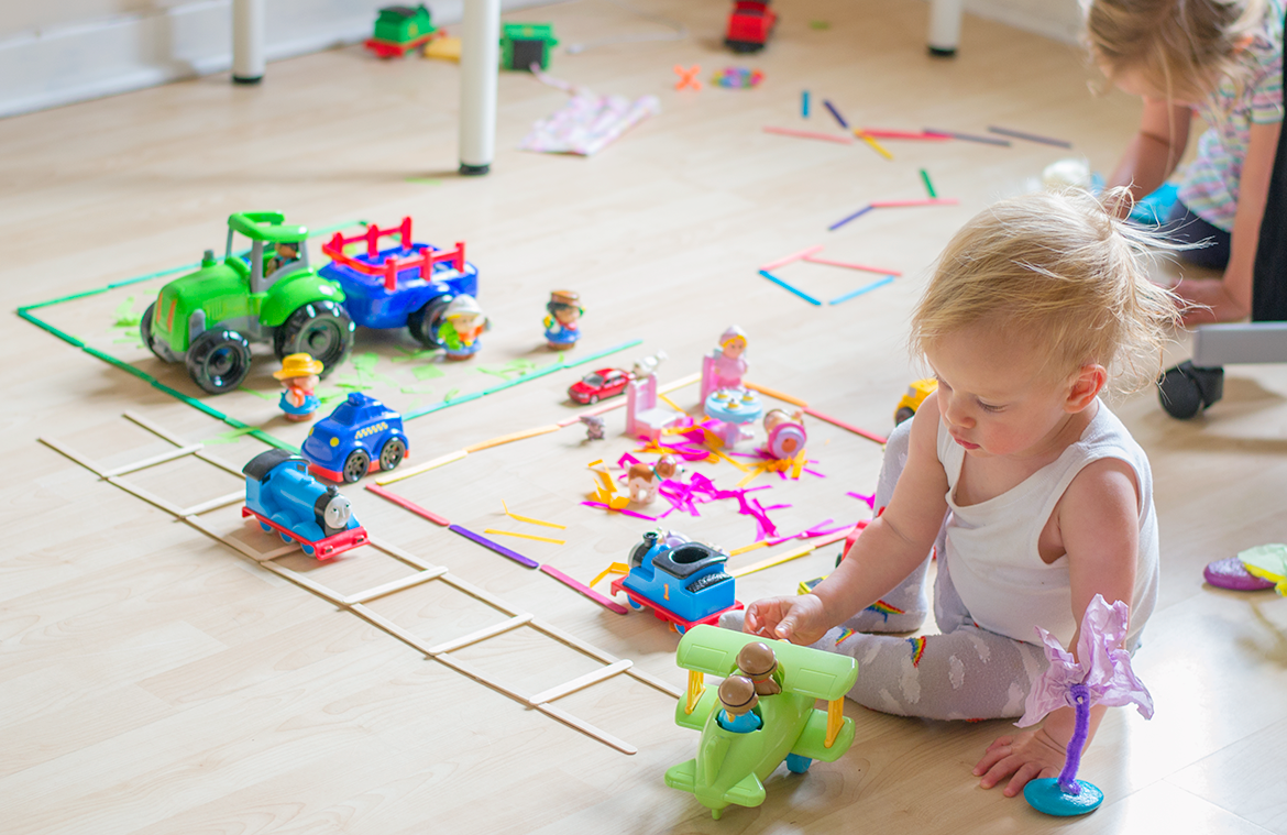 wooden stick play mat