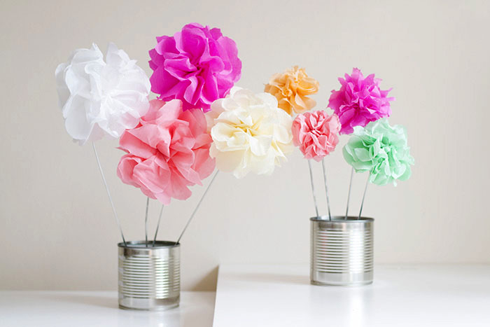 make your own tissue paper flowers