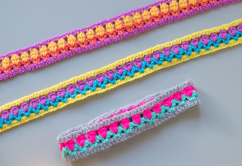 crochet headbands using tulip stitch