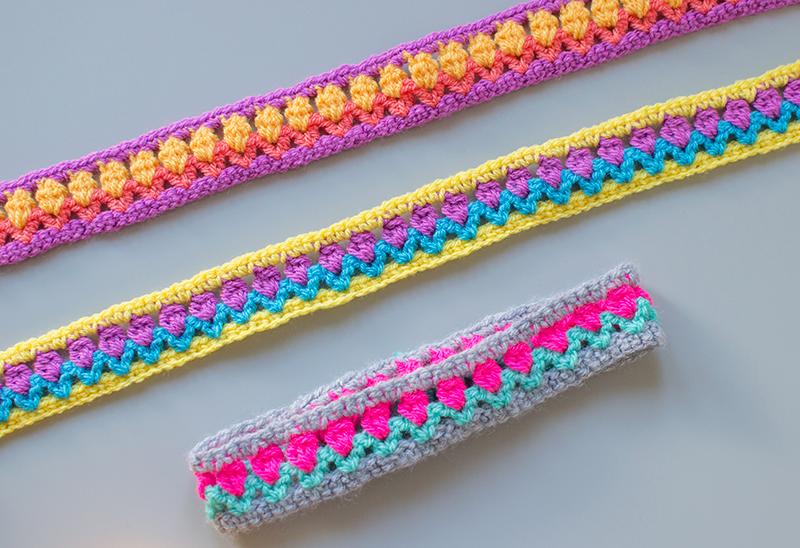 crochet headbands using tulip stitch