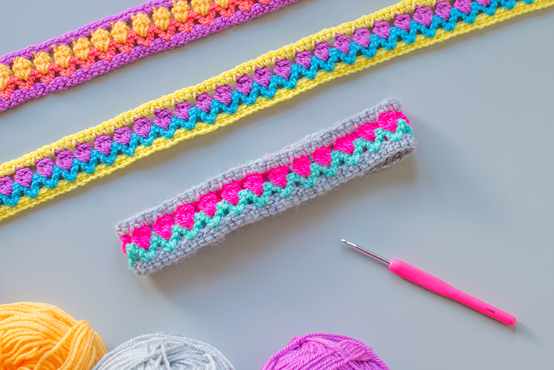 tulip stitch crochet headbands