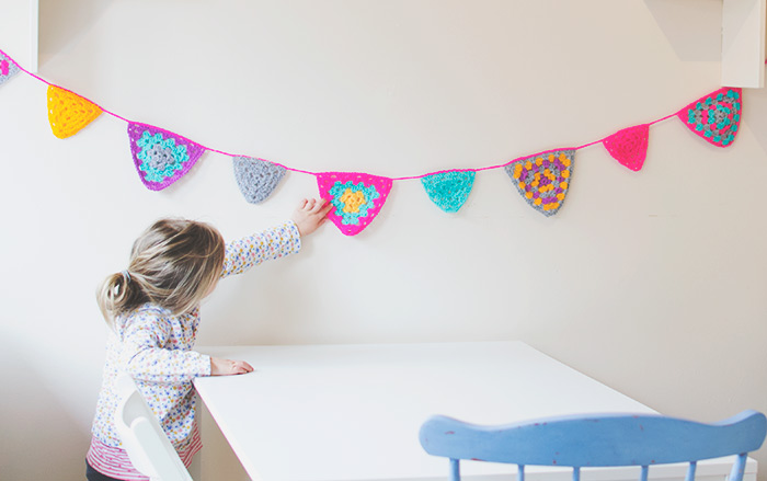 crocheted triangle bunting