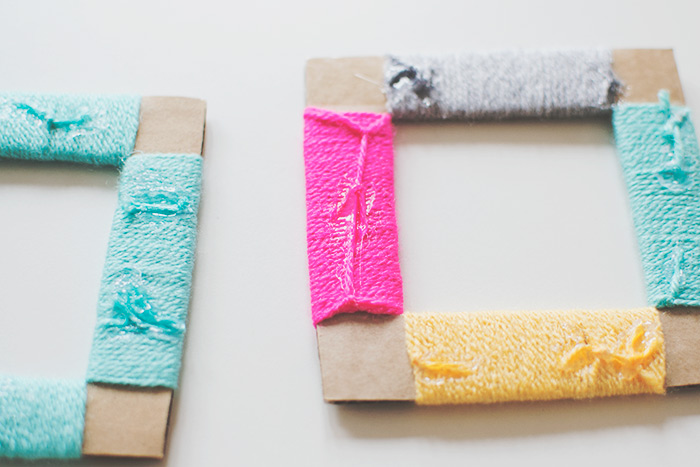 yarn wrapped cardboard diy photo frame