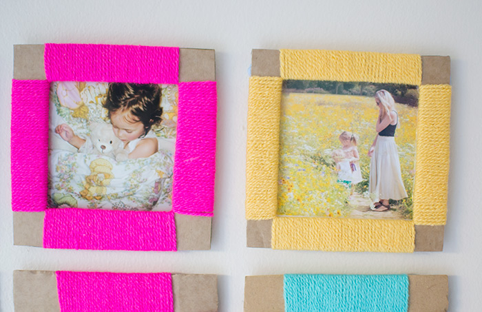 yarn wrapped diy photo frame