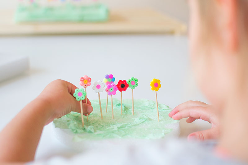kids-making-hama-bead-flower-gardens