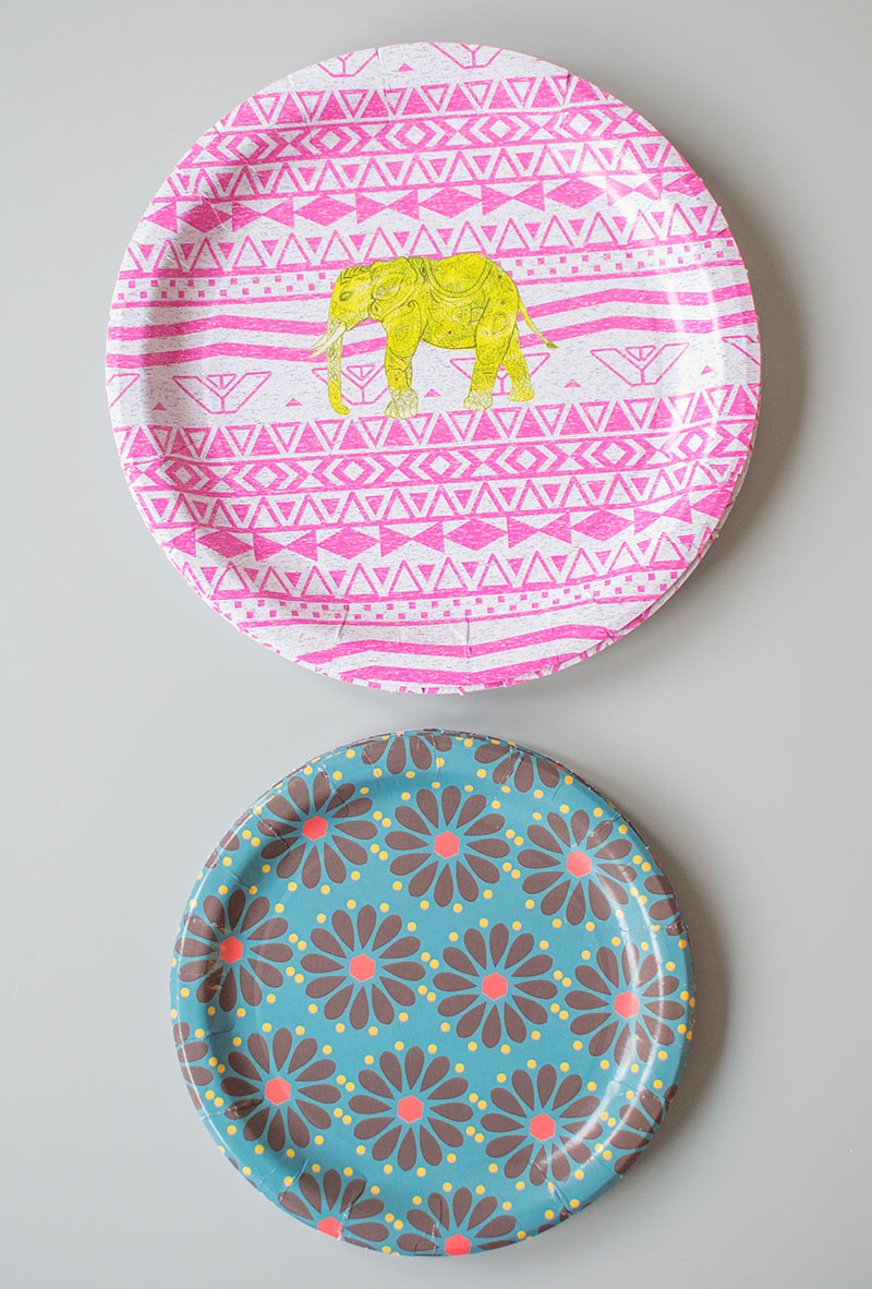 paper plates with floral and pink designs