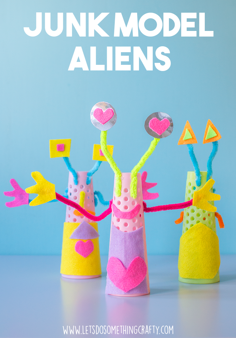 junk modelling crafts - bright and colorful aliens