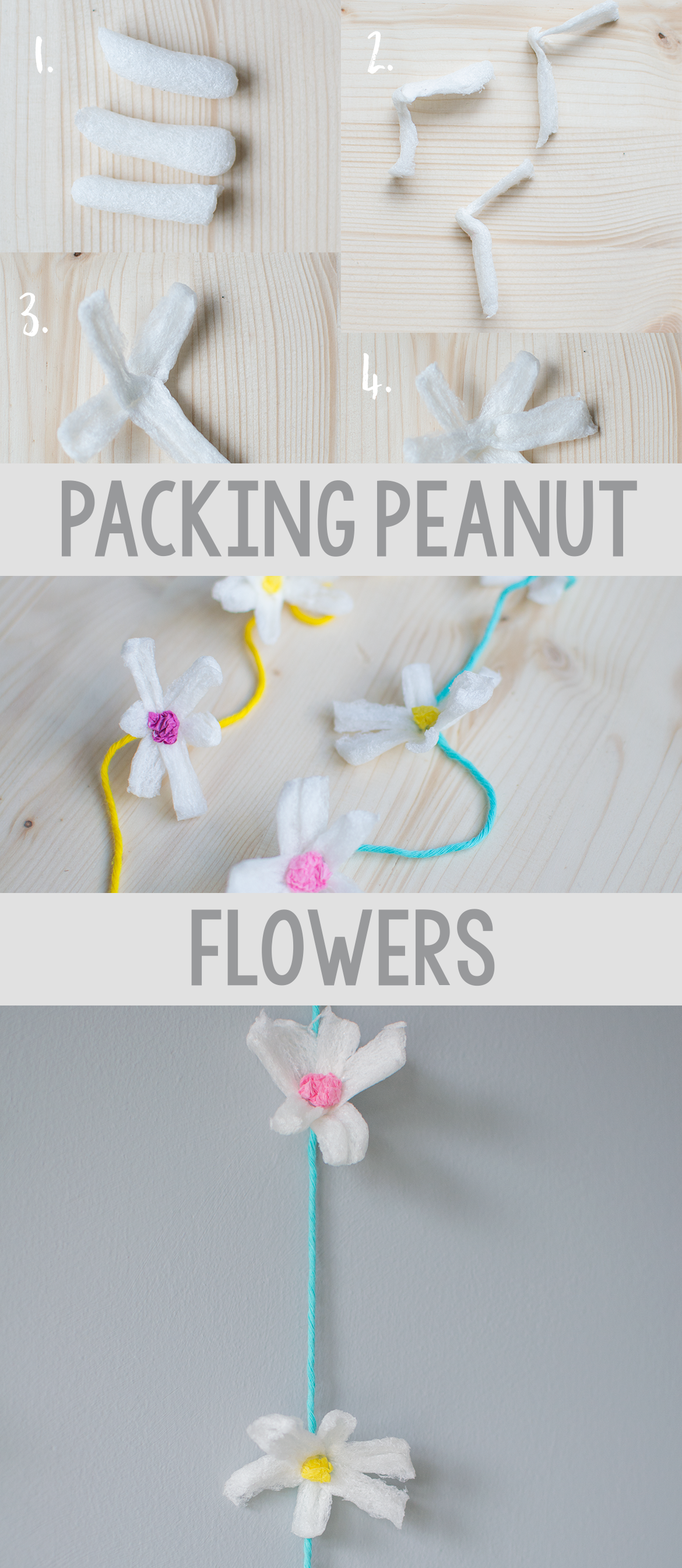 packing peanuts into pretty flower bunting Let's Do Something Crafty